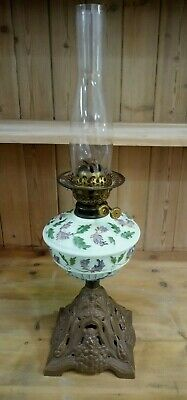 Ornate Victorian French Twin Burning Oil Lamp On Brass Effect Cast Iron Base