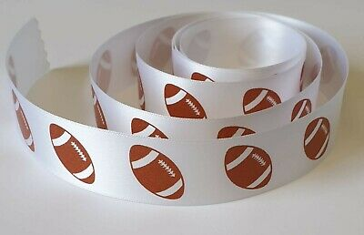 Rugby - American Football 25mm Wide Satin Ribbon Available in Various Lengths