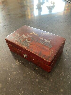 Antique Jewelry Box Stamp Lacquered Qing Victorian Painted Gilded Brown Chinese