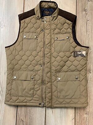 Tasso Elba Mens Large Quilted Vest  Brown Snap Pockets Zipper Button Closure NWT