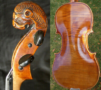 Fine 4/4 Antique LION HEAD German Violin Serv Karel Pilar 19th Fiddle 小提琴 ヴァイオリン
