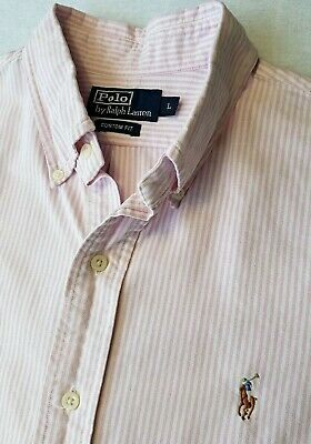 Polo By Ralph Lauren Mens Denim Shirt L Pink White Striped Short Sleeve