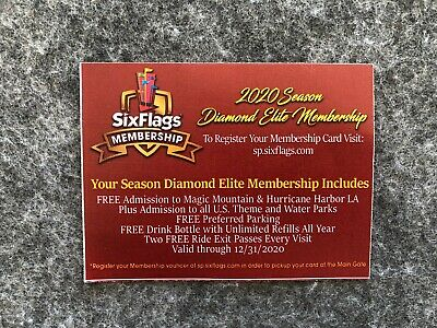 (1) 2020 Diamond Elite Season Passes Six Flags Magic Mountain