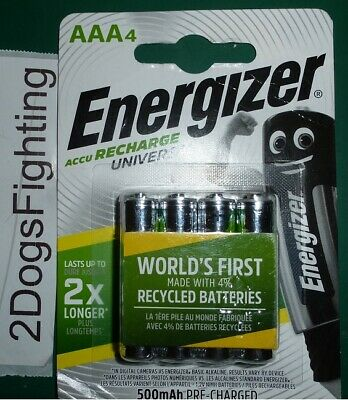 ENERGIZER UNIVERSAL AAA 500 Rechargeable Batteries 4 pack Sealed New 500mAh