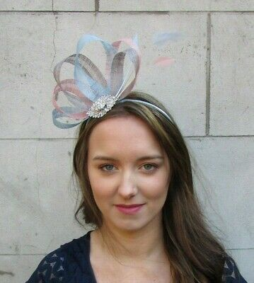 Dusky Blush Pink Grey Light Blue Silver Feather Hair Fascinator Sinamay 0041
