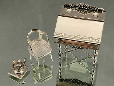 H. Hooijkaas Sterling Silver Miniature Desk, Chair And Candle Holder 835 Holland