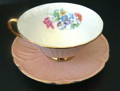 Shelley Fine Bone China England Teacup and Saucer Oleander Peach Floral READ