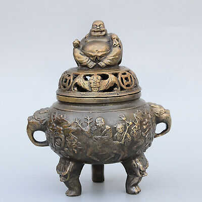 Collectable Chinese Bronze Hand-Carved Buddha Old Man Children Delicate Censer