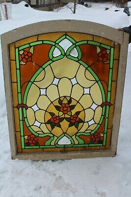 Great antique art nouveau leaded stained beveled glass window flower design