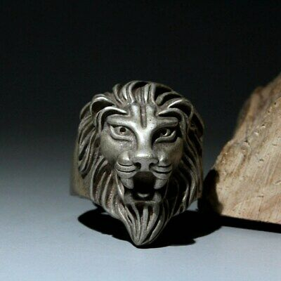 Collectable Chinese Handwork Old Miao Silver Carve Lion Interesting Unique Ring