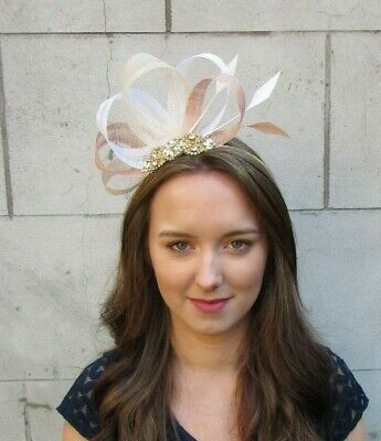 White Cream Nude Beige Gold Sinamay Feather Hair Fascinator Races Wedding 0045