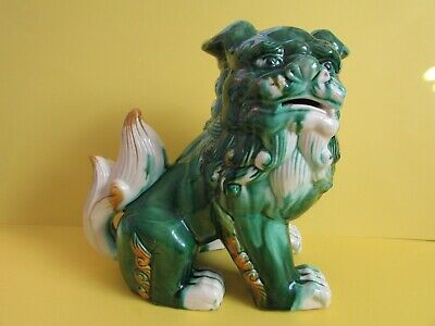 Vintage Ornate Majolica Chinese Asian Glazed Foo Dog Statue-8""