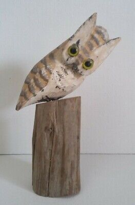 """Charming 6"""" Hand Carved Wooden Owl On Tree Branch Figurine Signed"""