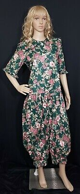 NWT Vintage Spring, Floral 80's Jumpsuit, Baggy, Balloon Legs, Size M