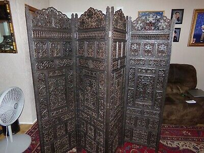 """Antique Room Divider Screen  All Hand Carved  Very Ornate   73""""X 80"""" Beautiful"""