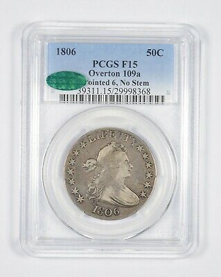 F15 CAC 1806 Draped Bust Half Dollar Overton 109a Pointed 6 No Stem - PCGS *8548