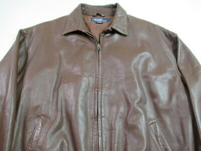 Polo Ralph Lauren Bomber Jacket Brown Butter SOFT Leather MENS LARGE