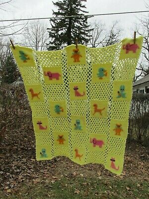 Baby Blanket Throw with Animals, Handcafted