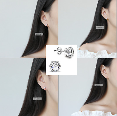 Set of 4 Sizes 925 Sterling Silver 3.75 CTW Round CZ Stud Earrings 3/4/5/6mm A33