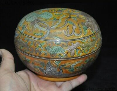 China dynasty Wucai porcelain flower peach Crane bird Storage Tank Crock Pot Jar