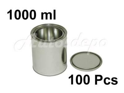 QUART SIZE , 1000 ml EMPTY METAL PAINT CANS WITH LIDS (100 CANS AND 100 LIDS)