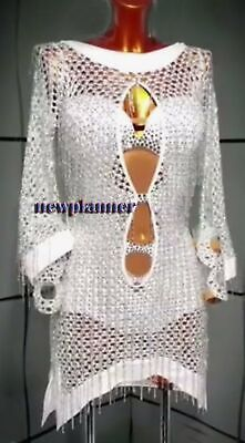 Women Samba Salsa Swing Latin Rumba Dance Dress US 12 UK 14 Two White Beads