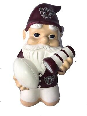 Manly Sea Eagles NRL Kneeling Garden Gnome with Solar Powered Torch