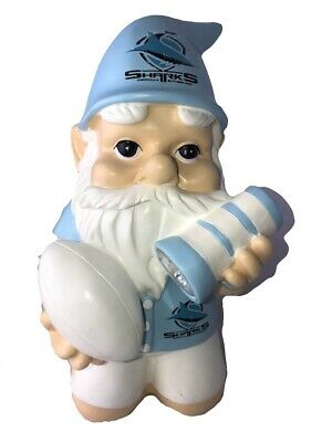 Cronulla Sharks NRL Kneeling Garden Gnome with Solar Powered Torch