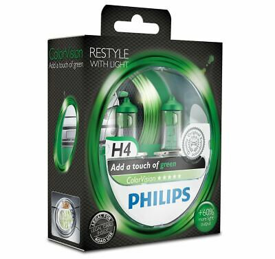 2x Green H4 Headlight Bulbs PHILIPS 12342CVPGS2 ColorVision 12V 60/55W P43t