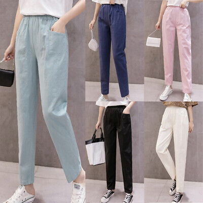 Women's Casual Cotton Harem Long Pants Elastic High Waisted Loose Fit Trousers