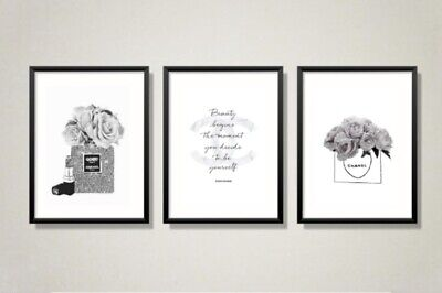 Set of 3 or 4 Coco Chanel Wall Art Print Room Bedroom Poster Watercolour Gift