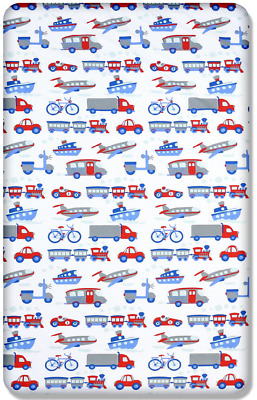 BABY FITTED COT BED SHEET PRINTED 100% COTTON MATTRESS 140x70cm Vehicles