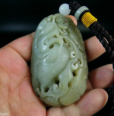 Certified Natural Hand-carved Hetian Jade Sculpture Hand Player 106g dragon&Ruyi