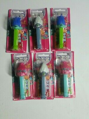 6 x trolls in box Pez Dispenser 17g - Limited Edition Collectibles