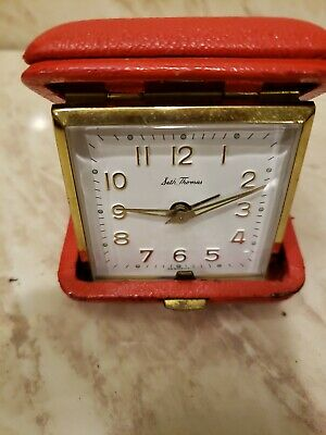 Vintage Seth Thomas TRAVEL ALARM CLOCK Red Case FOLDING Made in Germany
