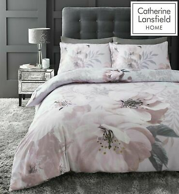 Catherine Lansfield Dramatic Floral Duvet Quilt Cover Girls Blush Pink Bedding
