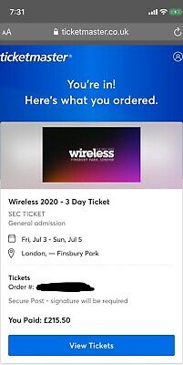 Wireless 2020 festival tickets. Friday and Sunday