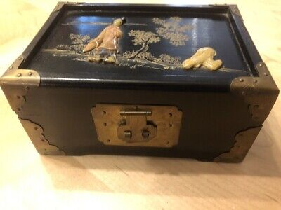 Antique Chinese Lacquer, Carved Soap Stone and Etched Brass Jewelry Box