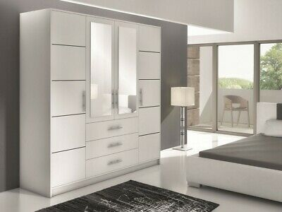 Wardrobe LILY - With Mirror + Drawers + Shleves + Hanging Rail - White Or Oak