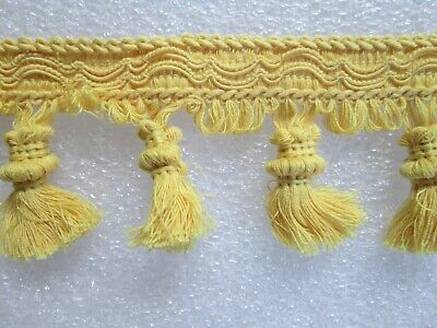 "9 yards  TASSEL FRINGE 3 1//4/""  GREEN//PALE YELLOW CREAM Upholstery Fabric Trim BC"