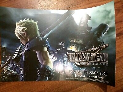 "SDCC 2019 FINAL FANTASY VII 7 Remake Double-Sided Poster 11/"" x 17/"" Comic Con FF7"