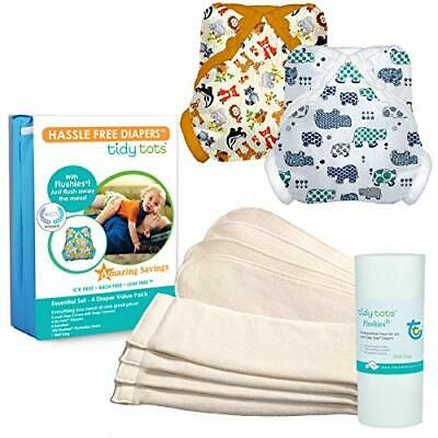 Tidy Tots Diaper Hassle-Free Cloth Diapers & Covers One-Size Snap Essential Set