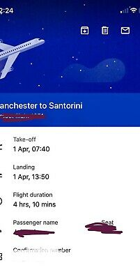 X2 Return Flights Manchester To Santorini 1/4/20 - 6/4/20.  Name Changes Include