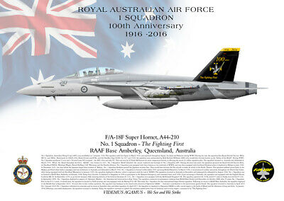 RAAF F/A-18F A44-210 1 Sqn 100th Ann Operation Okra Official Lithograph.