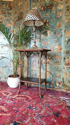 Victorian Tortoiseshell Bamboo Side Table Cane Plant Stand Hall Antique Delivery