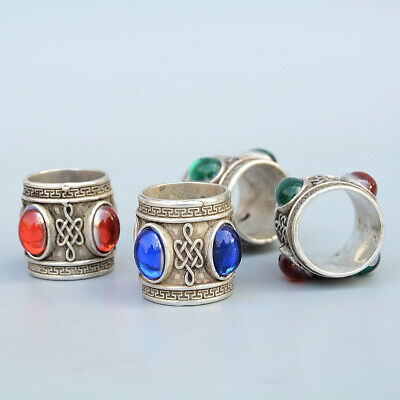 China Collectable Handwork A Set Of Miao Silver Mosaic Agate Noble Delicate Ring