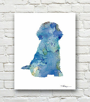BLUE WOLF Contemporary Watercolor Abstract ART Print by Artist DJR