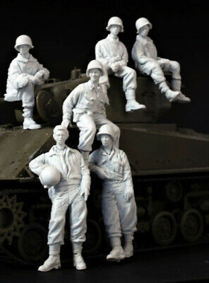 Resin 1/35 WWII US Sherman Crew 6 Soldiers Unpainted unassembled 3945