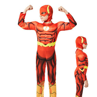 Kids Boys The Flash Costume Superhero Book Day Week Childs Fancy Dress Outfit UK