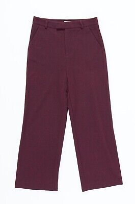 8022 GANNI Formal Wine Red Women's Classic Chino Pants Business Trousers Sz S
